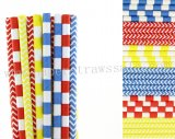 300pcs Red Blue Yellow Party Paper Straws Mixed