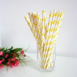 Paper Drinking Straws with Yellow Polka Dot 500pcs