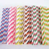Double Striped Paper Straws 1200pcs Mixed 6 Colors