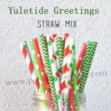 250pcs Yuletide Greetings Theme Paper Straws Mixed