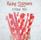 250pcs Ruby Slippers Themed Paper Straws Mixed