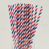 Navy Red White Striped Paper Straws 500pcs