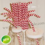 Chevron Bendy Paper Straws Red Print 500pcs