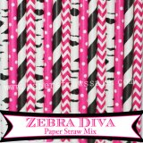 200pcs Zebra Diva Party Paper Straws Mixed