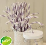 Lilac Stripe Printed Bendy Paper Straws 500pcs