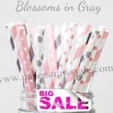 200pcs BLOSSOMS IN GRAY Theme Paper Straws Mixed