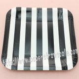 "7"" Black Striped Square Paper Plates 60pcs"