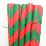 Green Red Stripe Christmas Paper Straws 500pcs