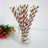 Paper Straws with Double Green Red Stripes 500pcs