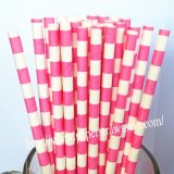 Hot Pink Sailor Striped Paper Straws 500pcs