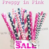 250pcs PREPPY IN PINK Theme Paper Straws Mixed