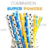 300pcs SUPER POWERS Paper Straws Mixed