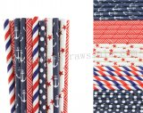 250pcs Navy Blue and Red Paper Straws Mixed