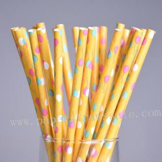 Colorful Party Balloon Paper Straws 500pcs