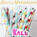 200pcs ALICE IN WONDERLAND Paper Straws Mixed
