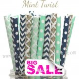 250pcs MINT TWIST Party Paper Straws Mixed