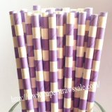 Lilac and White Circle Stripe Paper Straws 500pcs