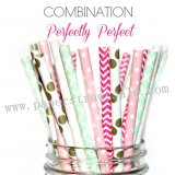 200pcs PERFECTLY PERFECT Paper Straws Mixed