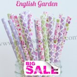 200pcs ENGLISH GARDEN Paper Straws Mixed
