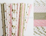 250pcs Pink Metallic Gold Party Paper Straws Mixed