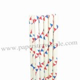 Red Blue Bunting Flag Paper Straws 500pcs