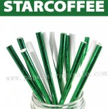 200pcs Green White Star Coffee Paper Straws Mixed
