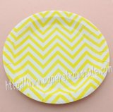 "9"" Round Paper Plates Yellow Zig Zag Stripes 60pcs"