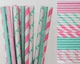 250pcs Aqua and Hot Pink Paper Straws Mixed