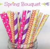 200pcs Spring Bouquet Themed Paper Straws Mixed