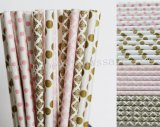 200pcs Metallic Gold Light Pink Paper Straws Mixed