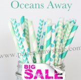 250pcs OCEANS AWAY Themed Paper Straws Mixed