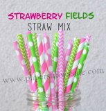 200pcs Strawberry Fields Theme Paper Straws Mixed