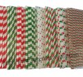 Green Red Christmas Paper Straws 1600pcs Mixed 8 Design