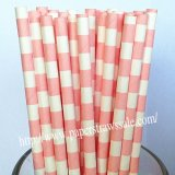 Baby Pink Sailor Stripe Print Paper Straws 500pcs