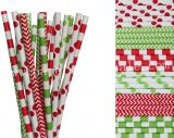 300pcs Lime Green Red Holiday Paper Straws Mixed