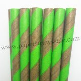 Green Brown Striped Halloween Paper Straws 500pcs