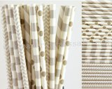 200pcs Metallic Silver Party Paper Straws Mixed