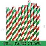 Christmas Green Red Foil Striped Paper Straws 500pcs