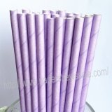 Solid Color Paper Drinking Straws Lavender 500pcs