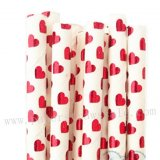 Metallic Red Foil Heart Paper Straws 500pcs