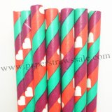 White Heart Paper Straws Dark Red Green Stripe 500pcs