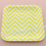"7"" Yellow Chevron Square Paper Plates 60pcs"