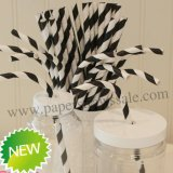 Black Stripe Print Bendy Paper Straws 500pcs