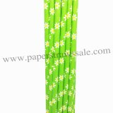 Daisy Flower Lime Green Paper Straws 500pcs
