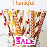 250pcs THANKFUL Autumn Theme Paper Straws Mixed