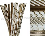 300pcs Metallic Silver Foil Paper Straws Mixed