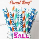 200pcs CORAL REEF Themed Paper Straws Mixed