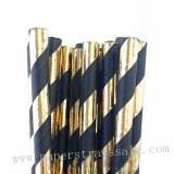 Black Gold Foil Striped Paper Straws 500pcs