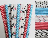 250pcs Red and Blue Mustache Paper Straws Mixed