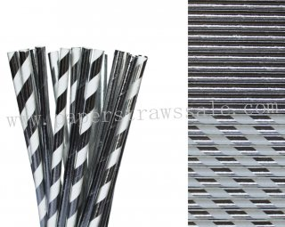 200pcs Metallic Silver Foil Paper Straws Mixed